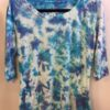 100% Cotton Crystal Tie Dye- 3/4 Slv Yoga Tee- Turq Lilac by Blue Lotus Yogawear