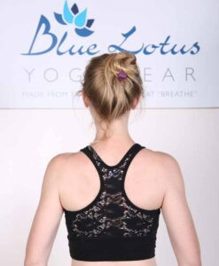 Organic Cotton Lace Back Bra - Navy by Blue Lotus Yogawear