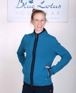 Organic Cotton Heart Zip Sweat Top- Teal by Blue Lotus Yogawear