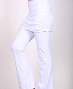Organic Cotton Skirt Over Flare Leg Yoga Pant - Kundalini White by Blue Lotus Yogawear