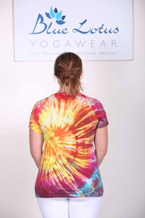 100% Cotton Spiral Tie Dye Yoga Tee- Malibu Sunset Back by Blue Lotus Yogawear
