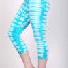 Organic Cotton Crop Yoga Legging - Aqua Bengal Tiger Tie Dye by Blue Lotus Yogawear