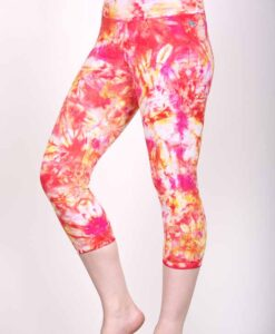 Organic Cotton Crop Yoga Legging - Red Yellow Crystal Dye by Blue Lotus Yogawear