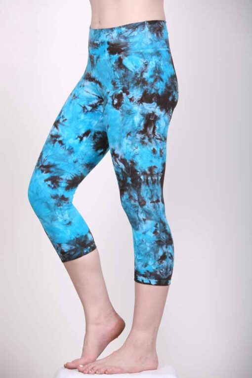 Organic Cotton Crop Yoga Legging- Turq Brown Crystal Dye by Blue Lotus Yogawear