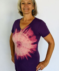 Organic Cotton Aura Burst Yoga Fit Tee- Purple by Blue Lotus Yogawear