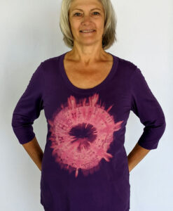 3/4 Sleeve Organic Cotton Aura Burst Tee- Purple by Blue Lotus Yogawear