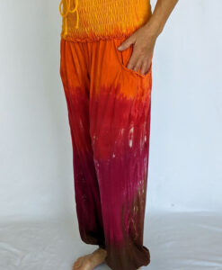 Organic Cotton Smocked Waistband Harem Pant-Red Orange Tie Dye by Blue Lotus Yogawear