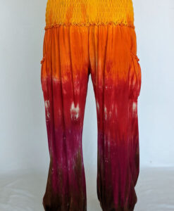 Organic Cotton Smocked Waistband Harem Pant-Red Orange Tie Dye Back