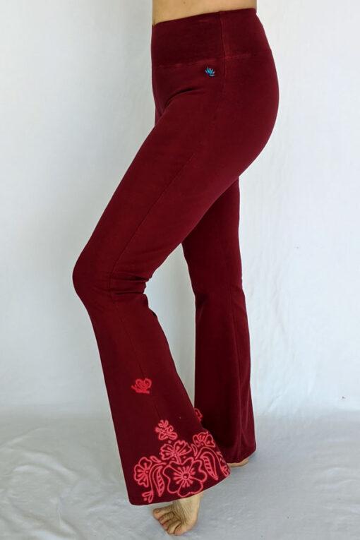 Organic Cotton Mehndi Design Flare Leg Yoga Pant - Wine by Blue Lotus Yogawear