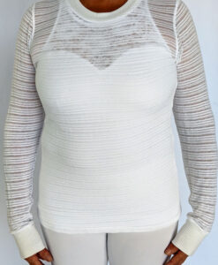 Light Weight Cotton Novelty Stripe Sweater - Kundalini White by Blue Lotus Yogawear