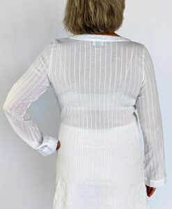 Gauze Long Sleeve Dress - Kundalini White Back by Blue Lotus Yogawear