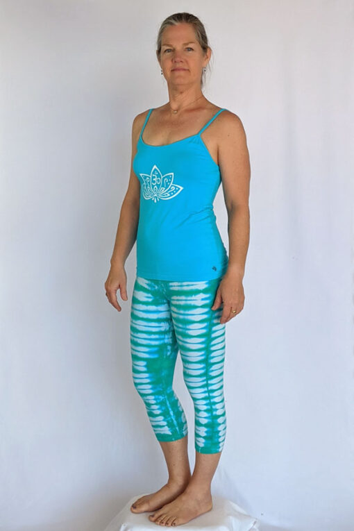 Organic Cotton Lotus Cami with Adjustable Straps- Turquoise Outfit by Blue Lotus Yogawear