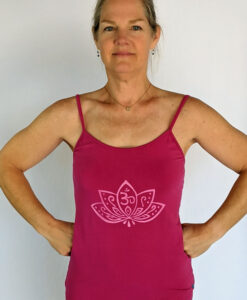 Organic Cotton Lotus Cami with Adjustable Straps- Fuschia by Blue Lotus Yogawear