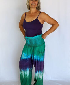 Organic Cotton Smocked Waistband Harem Pant-Turq Purple Tie Dye Outfit by Blue Lotus Yogawear