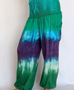 Organic Cotton Smocked Waistband Harem Pant-Turq Purple Tie Dye by Blue Lotus Yogawear