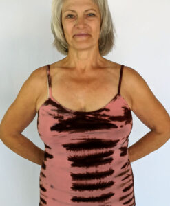Organic Cotton Tie Dye Cami with Adjustable Straps- Coral/Brn by Blue Lotus Yogawear