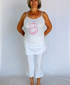 Organic Cotton Ganesha Cami with Adjustable Straps- Kundalini White Outfit by Blue Lotus Yogawear