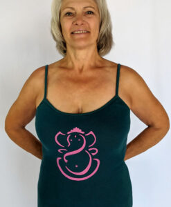 Organic Cotton Ganesha Cami with Adjustable Straps- Teal by Blue Lotus Yogawear