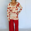 Printed Cotton Empire Waist Sweater Outfit by Blue Lotus Yogawear