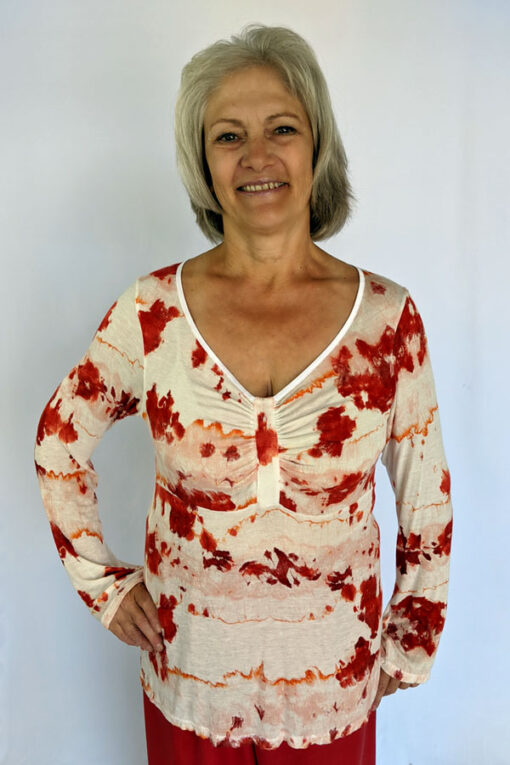 Printed Cotton Empire Waist Sweater by Blue Lotus Yogawear