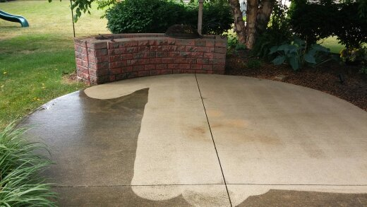 During - Rear Patio Half Pressure Washed in Avon Lake