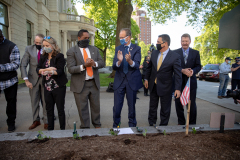 May 11, 2021: Senator Kane participates in the  PA Hunger Garden Dedication at the state Capitol. The bipartisan, bicameral Hunger Caucus works together with local master gardeners to provide hundreds of pounds of food from this garden every year for local organizations that fight food insecurity, including Downtown Daily Bread and the Central PA Food Bank.