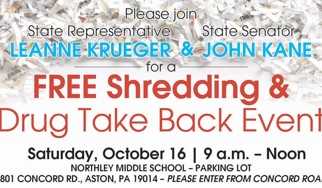 Free Shredding & Drug Take Back Event