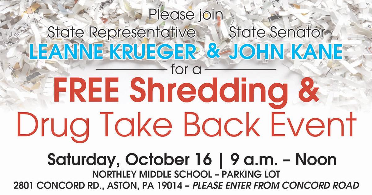 Free Shredding & Drug Take Back Event - October 16, 2021