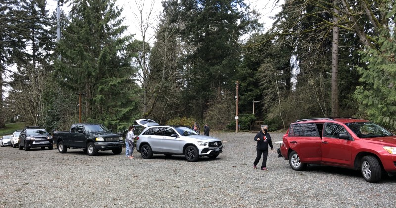 Cars line up for free trees at Spring Giveaway