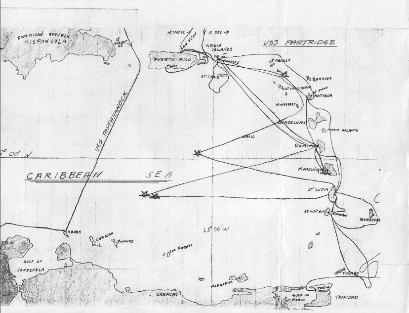 Map of the Partridge Voyage in the Caribbean