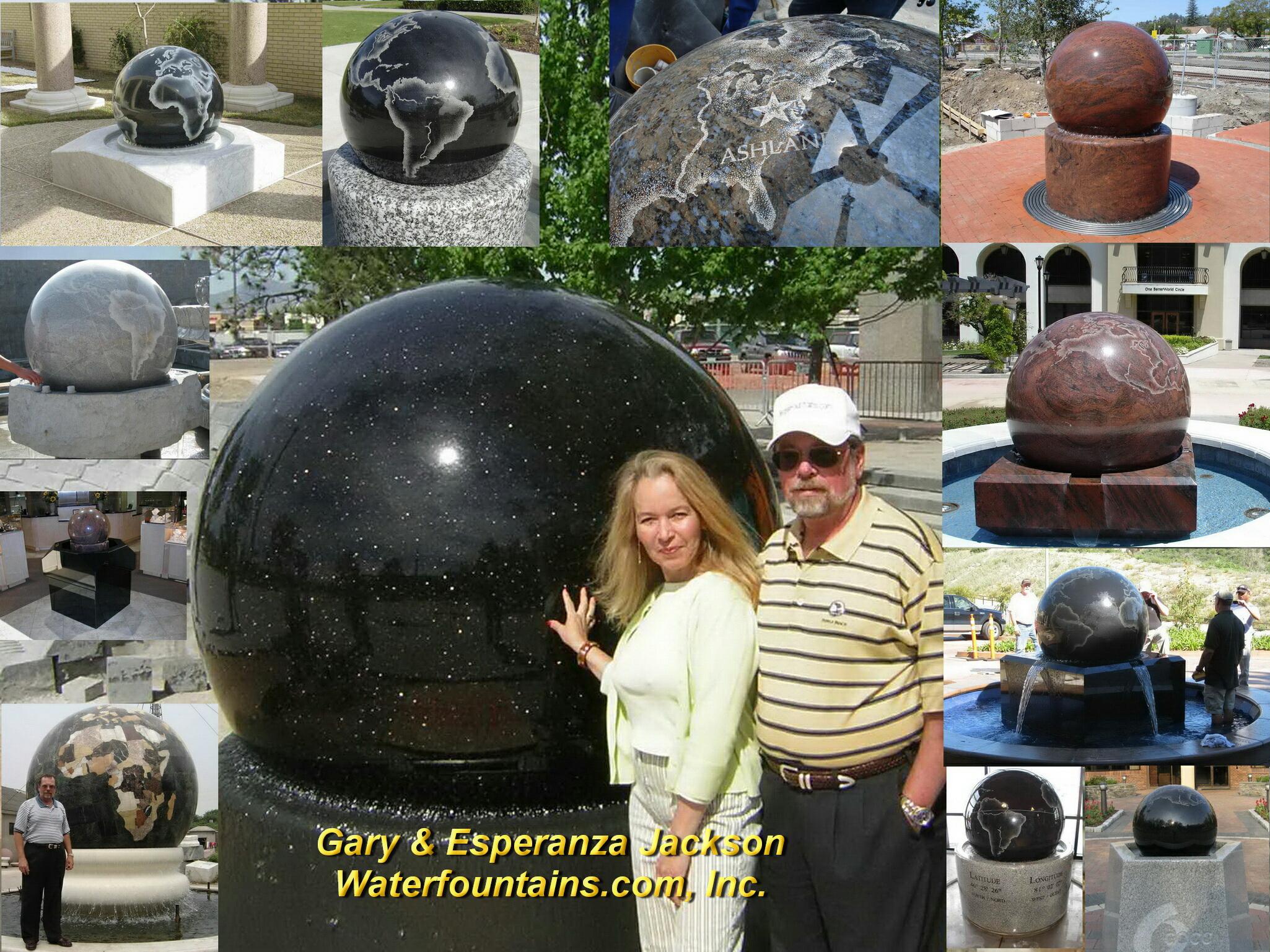 GRANITE SPHERE BALL WATER FOUNTAIN - 054