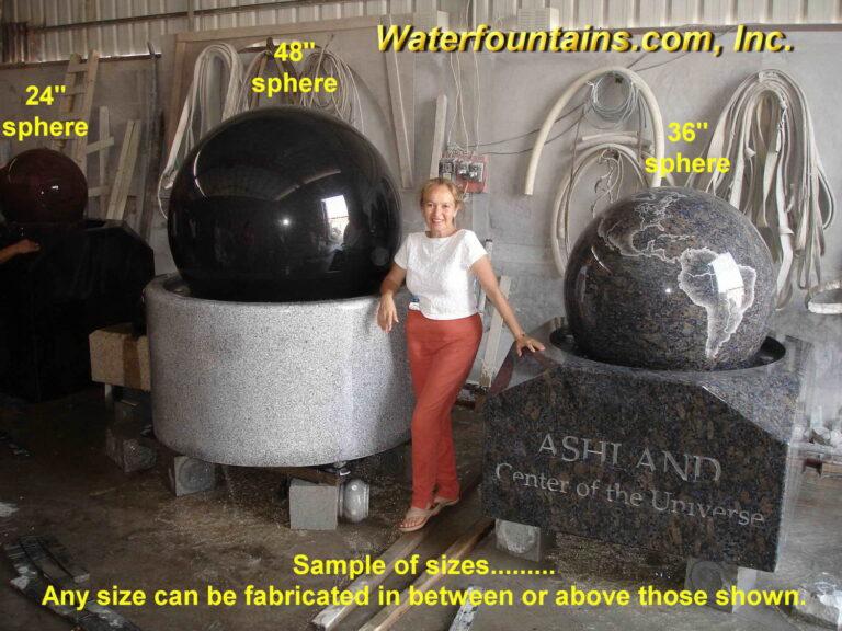 Main 013 Granite Sphere Fountain sizes