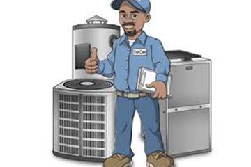 A cartoon of an HVAC technician.