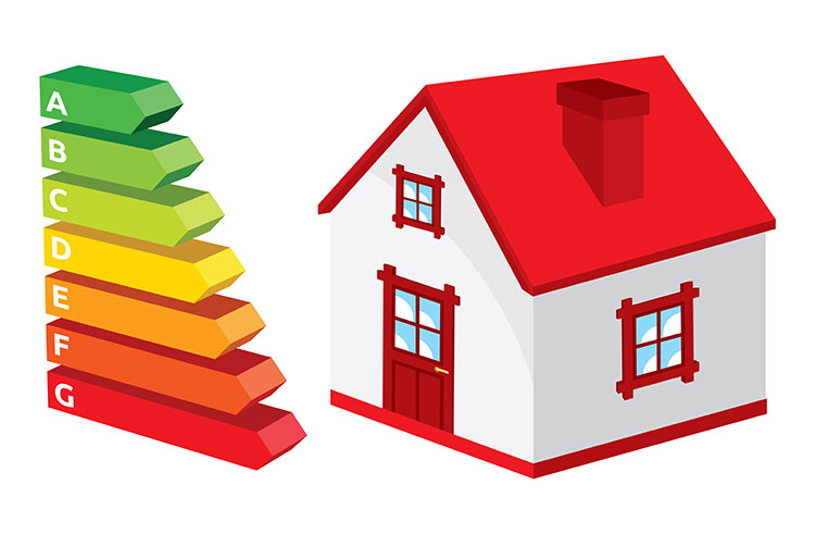 A vector image of a house with a graph.