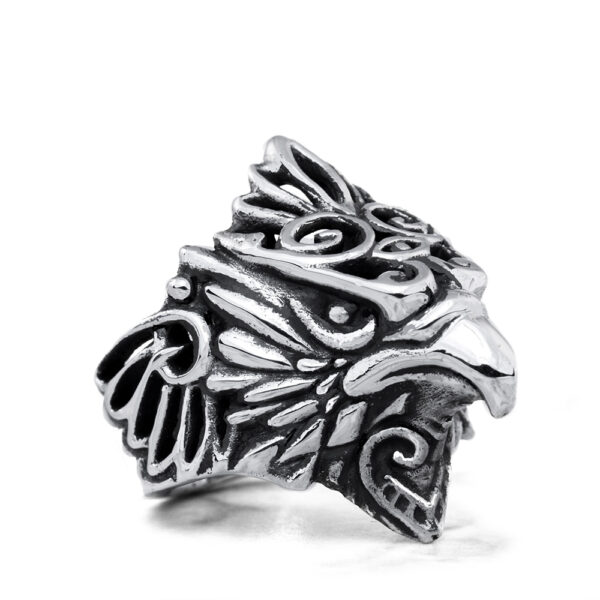 Ether11 Sterling Silver Messenger Hawk Ring
