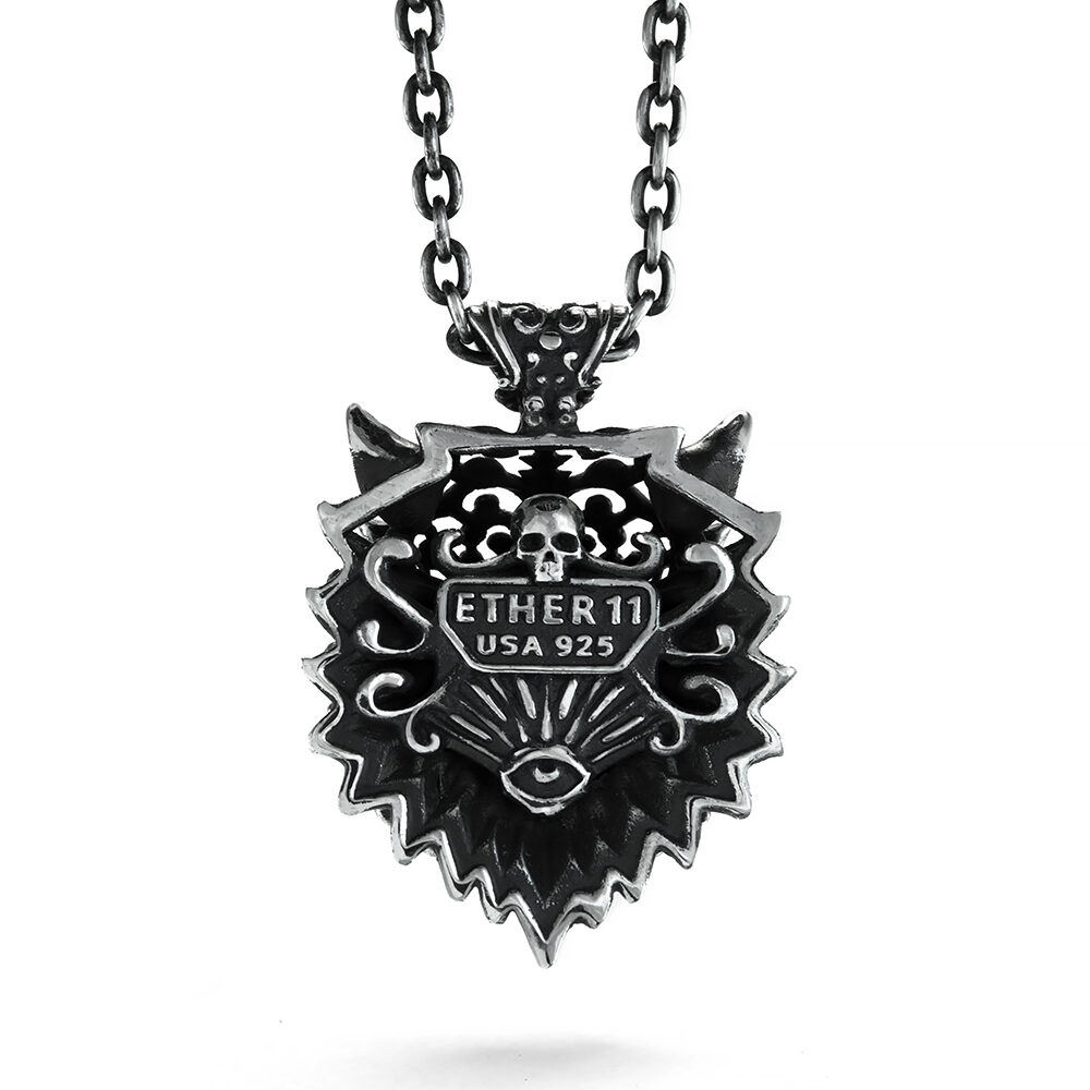 Ether11 Sterling Silver Victorian Dire Wolf Pendant