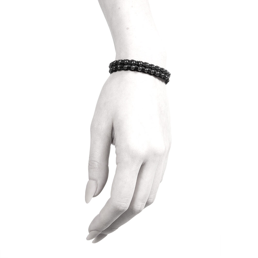 Ether11 Hematite Macrame 3mm Double Bead Bracelet