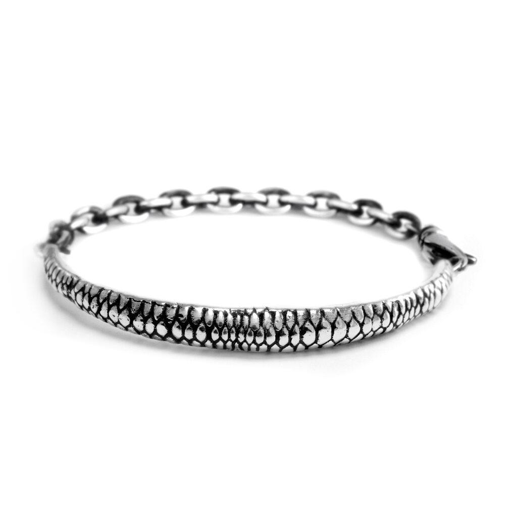 Ether11 Snake Skin Pattern Bridge Chain Bracelet in Sterling Silver
