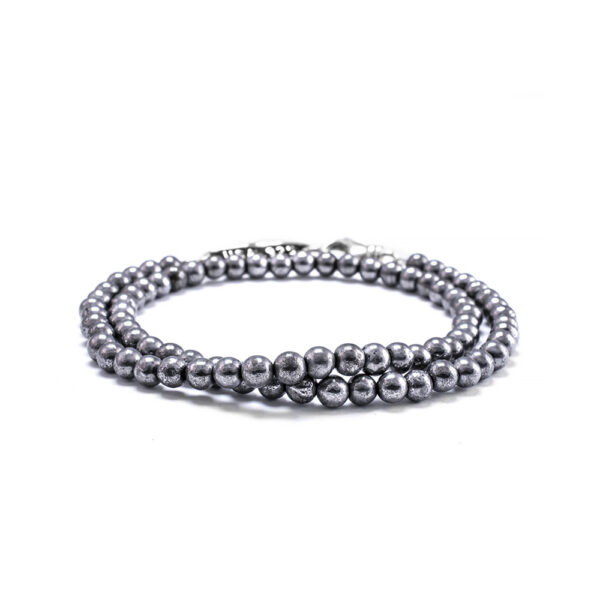 4mm Hematite Bead Bracelet Double Wrap