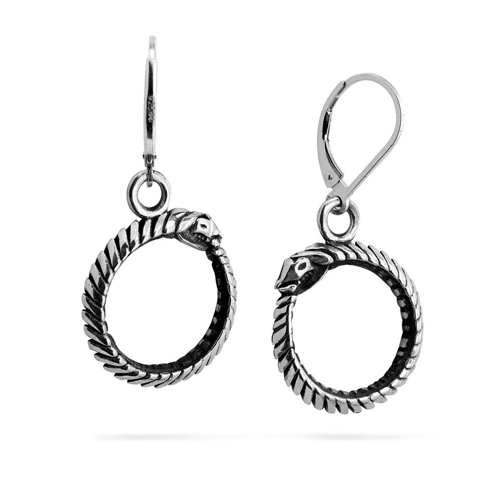 Ether11 Sterling Silver Ouroboros Snake Earrings