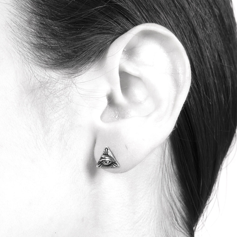Ether11 All Seeing Eye Stud Earring Sterling Silver