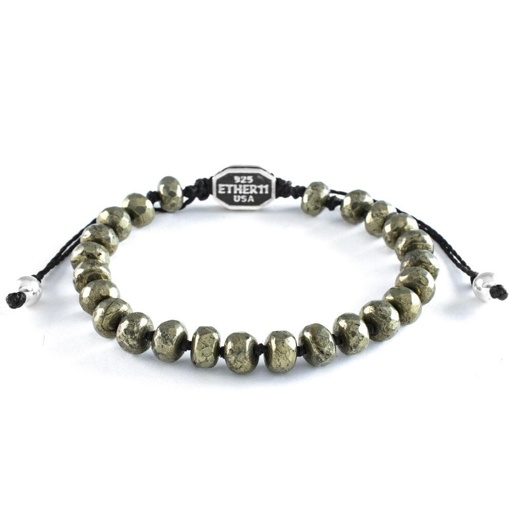 Ether 11 Faceted Pyrite Gemstone Bead Bracelet