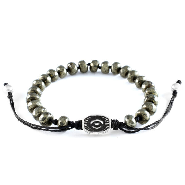 Ether 11 Faceted Pyrite Gemstone Bead Bracelet Macreme Clasp