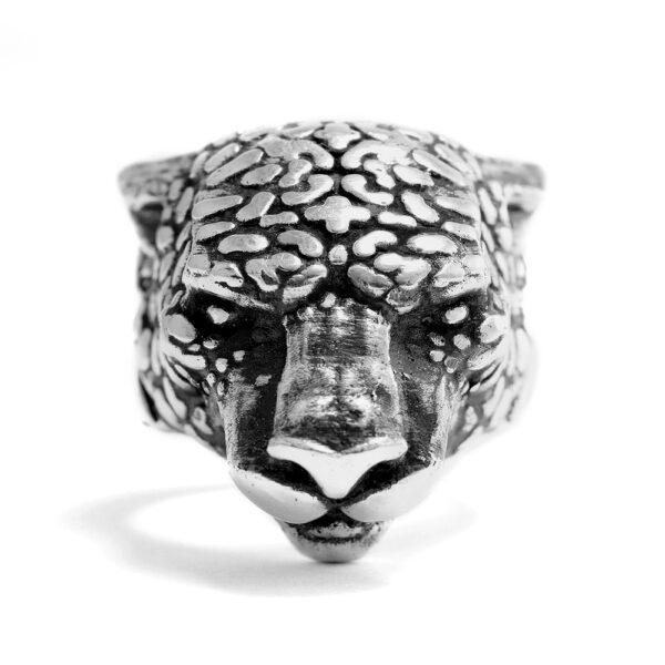 Ether11 Shipibo Tribal Geometric Pattern Jaguar Sterling Silver Ring
