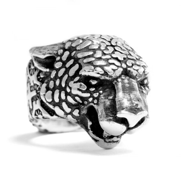 Ether11 Shipibo Tribal Geometric Pattern Jaguar Sterling Silver Ring