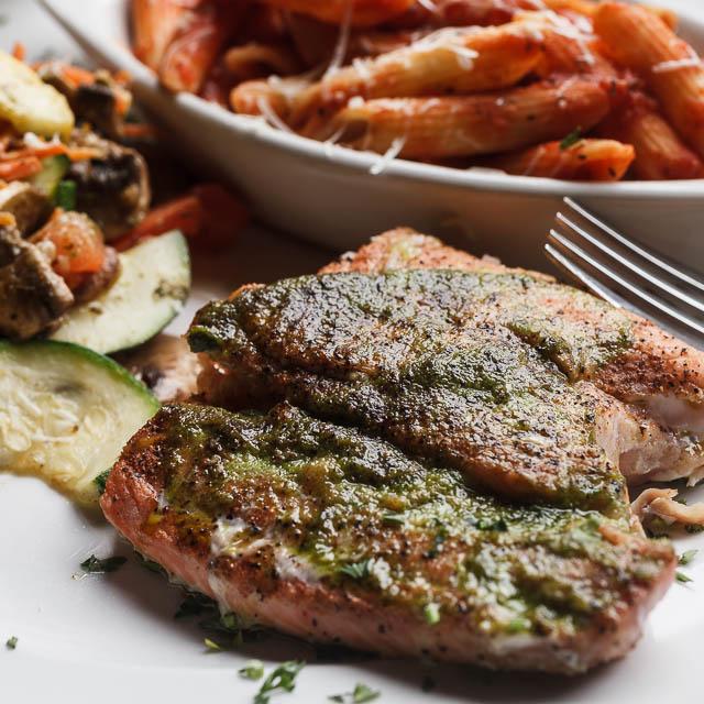 Louisiana Pizza Kitchen's Roasted Salmon Fillet