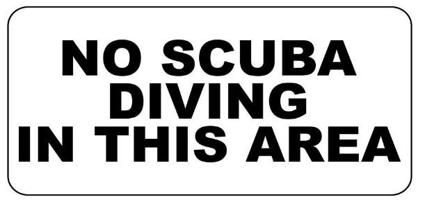No scuba diving sign