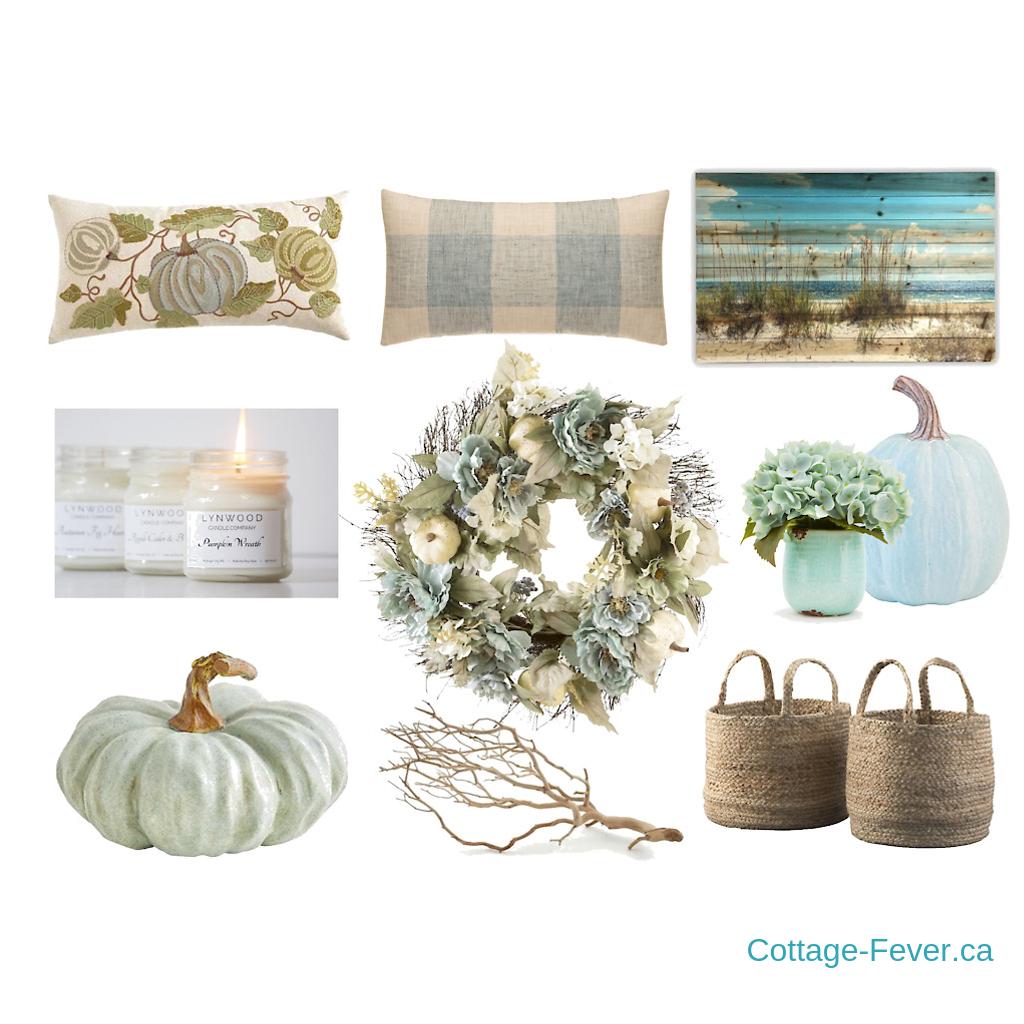 coastal autumn decor mood board