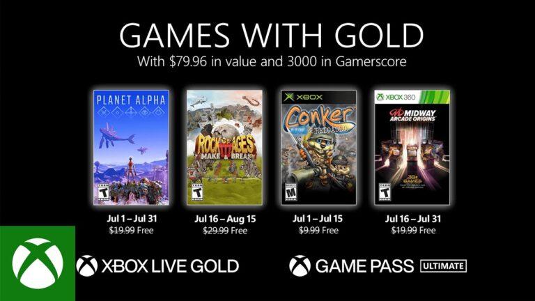 Xbox anuncia los juegos gratuitos de Games with Gold para Julio 2021