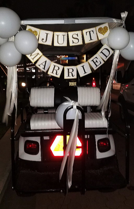 Wedding Bliss Events Planning - Send-off with decorated Golf Cart